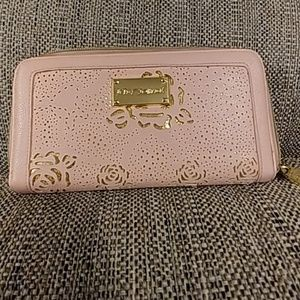 Betsey Johnson Pink and Metallic Gold Wallet